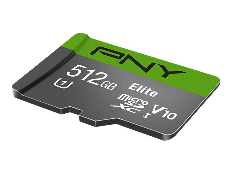 PNY Elite - Flash-Speicherkarte (microSDXC-an-SD-Adapter inbegriffen) - 512 GB - Video Class V10 / UHS-I Class 1 / Class10 - mic