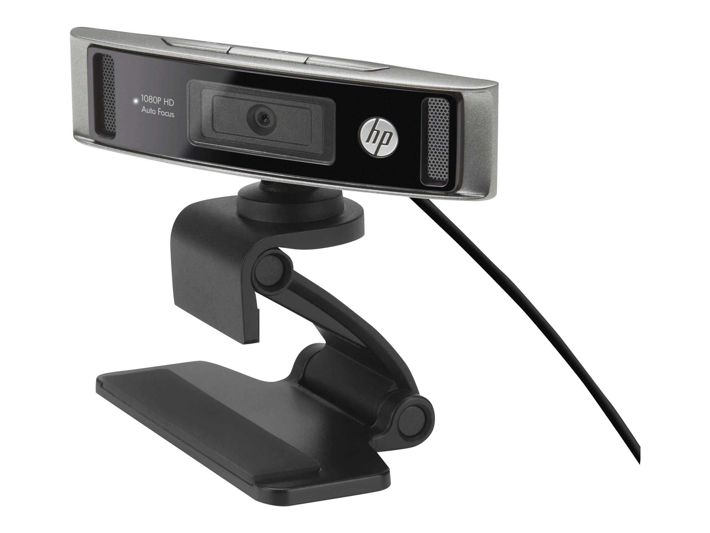 HP WebCam HD 4310 - Webcam für Notebook - schwenken / neigen - Farbe - 1920 x 1080 - Audio