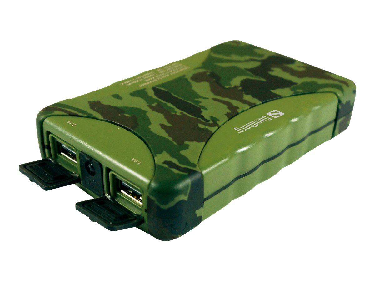 Sandberg Outdoor Powerbank 10400 - Powerbank - 10400 mAh - 2100 mA - 2 Ausgabeanschlussstellen (USB) - auf Kabel: Micro-USB
