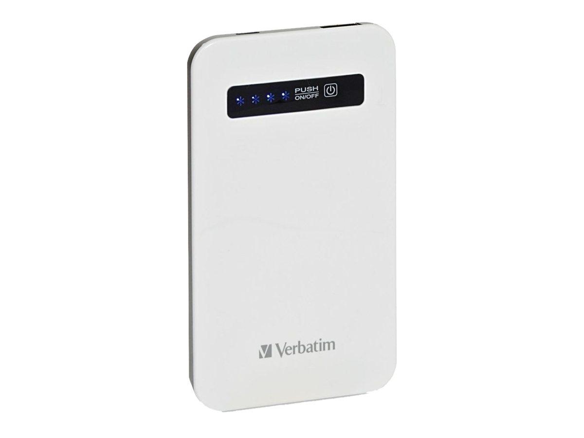 Verbatim Ultra Slim Power Pack - Externer Batteriensatz - Li-Pol - 4200 mAh - auf Kabel: Micro-USB - weiss