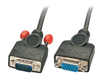 Lindy - VGA-Verlängerungskabel - HD-15 (VGA) (W) bis HD-15 (VGA) (M) - 1 m - geformt, Daumenschrauben - Schwarz