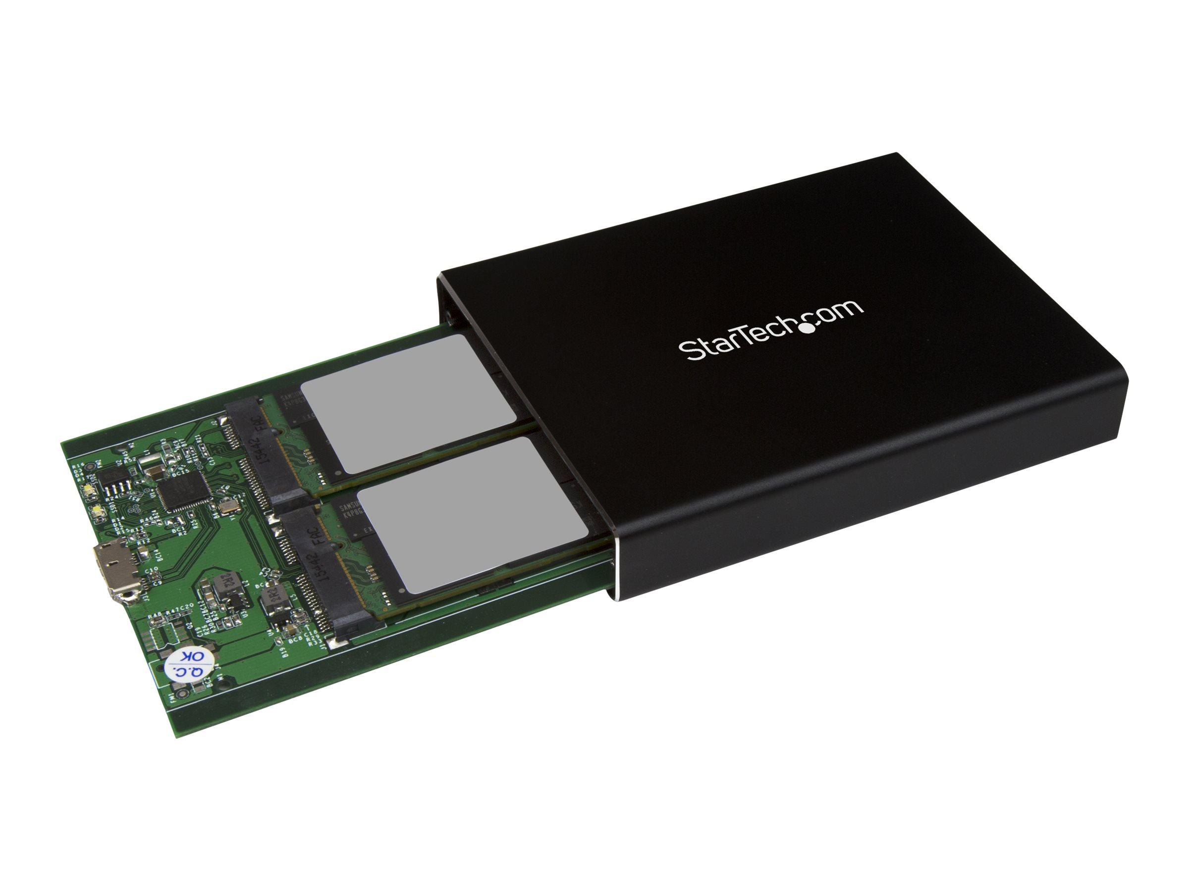StarTech.com Dual mSATA Festplattengehäuse - RAID - mSATA SSD Gehäuse - USB 3.1 (10Gbit/s) - USB C / USB A Festplattengehäuse -