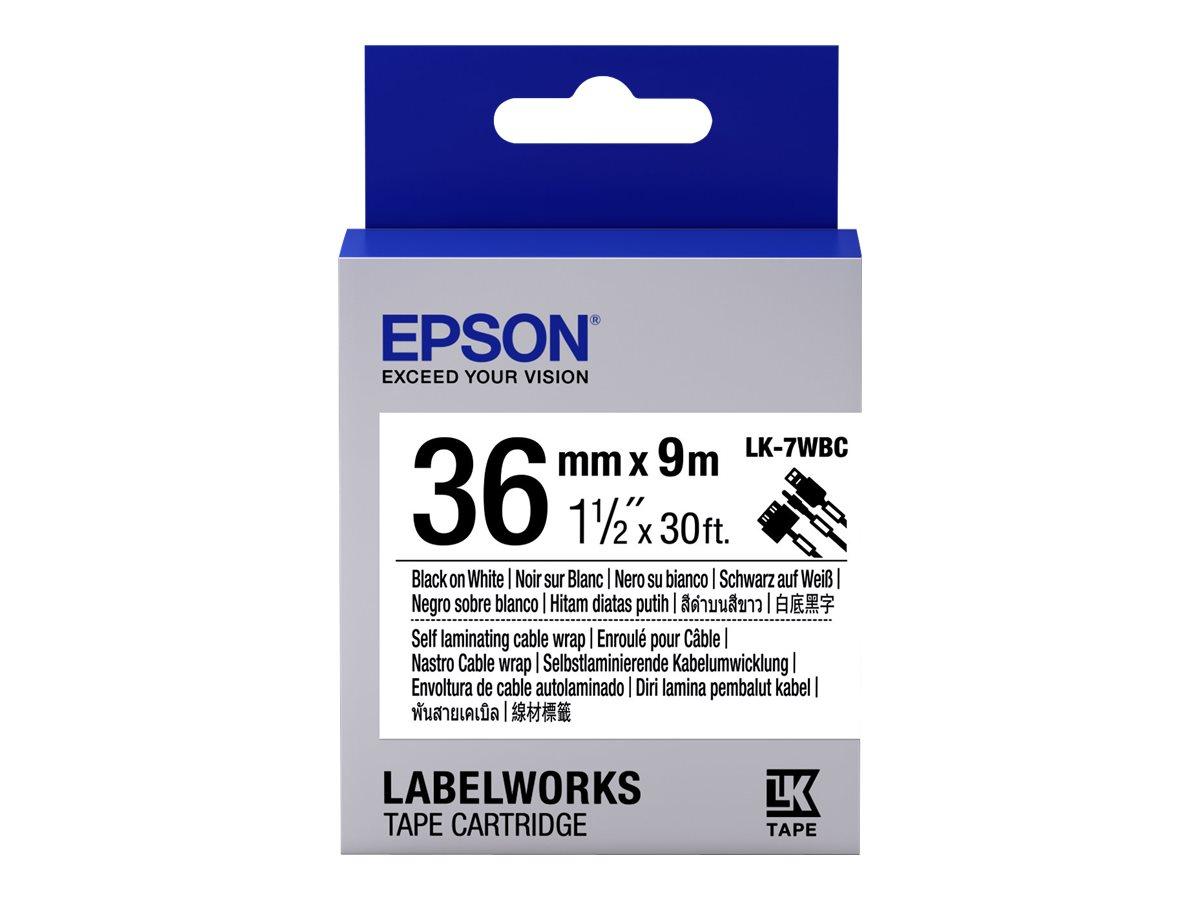 Epson LabelWorks LK-7WBC - Schwarz auf Weiss - Rolle (3,6 cm x 9 m) 1 Rolle(n) Kabelmanager - für LabelWorks LW-1000P, LW-900P,