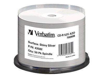 Verbatim - 50 x CD-R - 700 MB (80 Min) 52x - Silber - mit Thermodrucker bedruckbare Oberfläche - Spindel