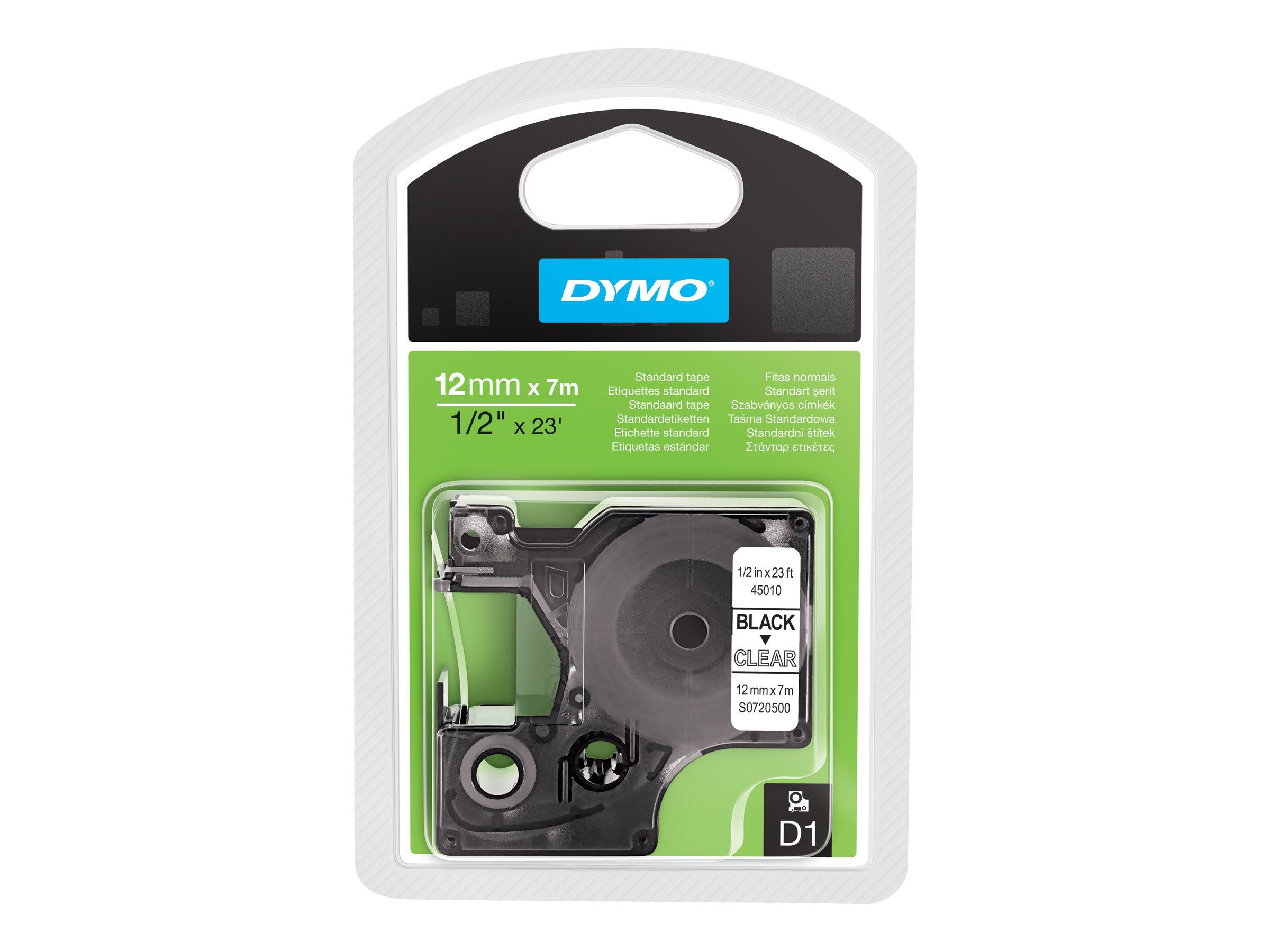 DYMO D1 - Selbstklebend - Schwarz auf Transparent - Rolle (1,2 cm x 7 m) 1 Rolle(n) Etikettenband - für LabelMANAGER 100, 160, 2